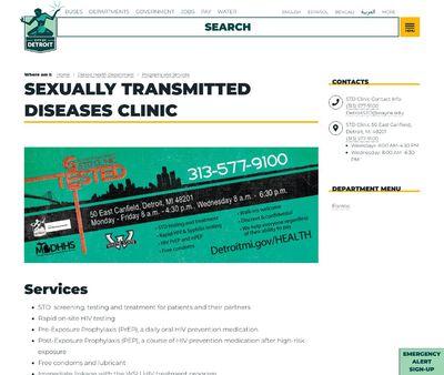STD Testing at Detroit Public Health