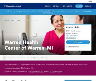 STD Testing at Planned Parenthood - Warren Health Center of Warren, MI