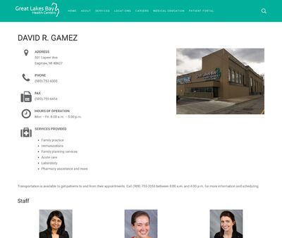 STD Testing at Great Lakes Bay Health Centers, David R Gamez Center