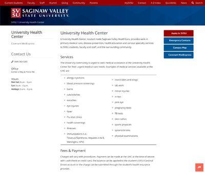 STD Testing at Saginaw Valley State University, University Health Center