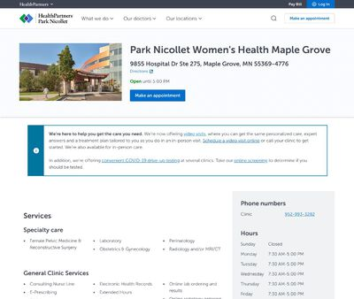 STD Testing at Park Nicollet Women's Health Clinic Maple Grove
