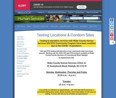 STD Testing at Wake County Human Services