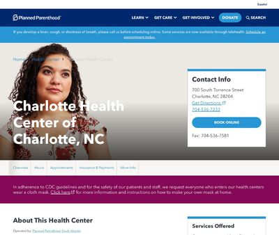 STD Testing at Planned Parenthood, Charlotte Health Center of Charlotte, NC