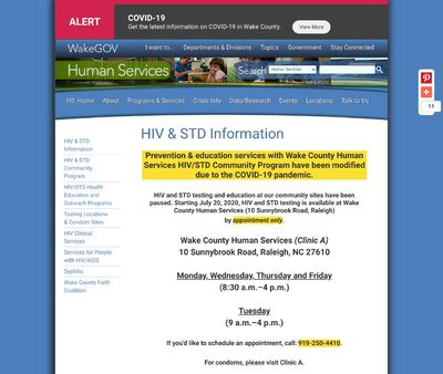 STD Testing at Wake County Human Services HIV Clinic