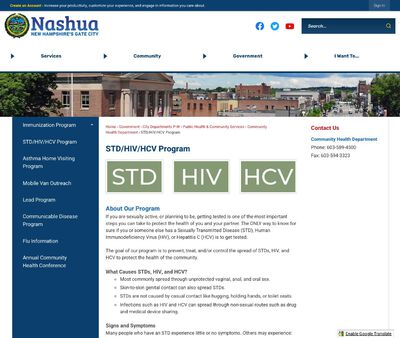 STD Testing at Nashua Division of Public Health & Community Services