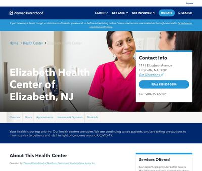 STD Testing at Planned Parenthood of Northern Central and Southern New Jersey, Elizabeth Health Center