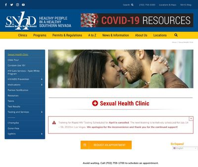 STD Testing at SNHD Sexual Health Clinic