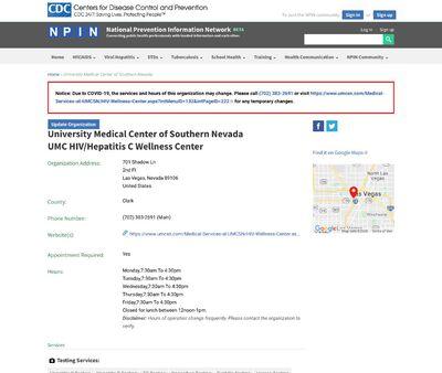 STD Testing at University Medical Center of Southern Nevada (HIV/Hepatitis B&C/ PEP / PrEP /STD)