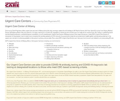 STD Testing at Community Care Physicians: Urgent Care Center of Albany