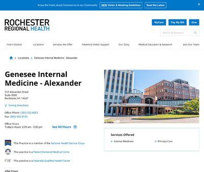 STD Testing at Rochester Regional Health, Genesee Internal Medicine - Alexander