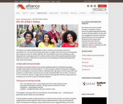 STD Testing at Alliance for Positive Health
