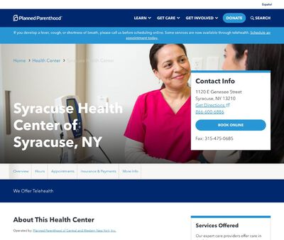 STD Testing at Planned Parenthood of Central and Western New York Incorporated (Syracuse Health Center)