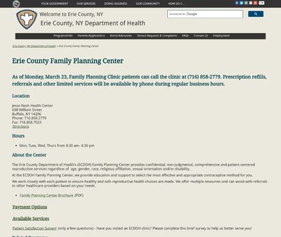 STD Testing at Erie County Department of Health- Jesse Nash Sexual Health Clinic