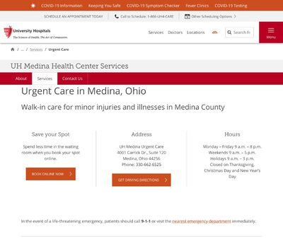 STD Testing at UH Medina Health Center Urgent Care