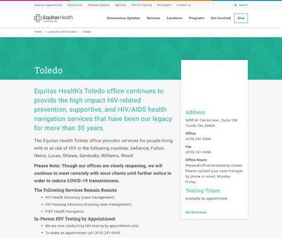 STD Testing at Equitas Health Toledo