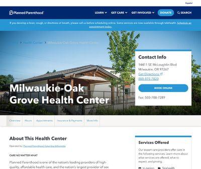 STD Testing at Planned Parenthood Columbia Willamette (Milwaukie-Oak Grove Health Center)