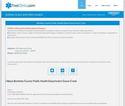 STD Testing at Berkeley County Public Health Department Goose Creek