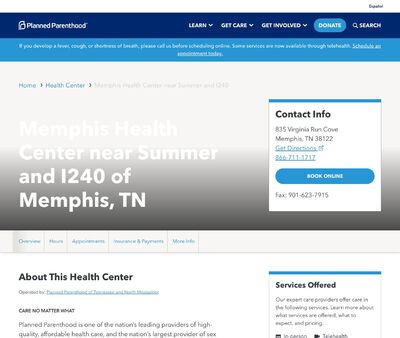 STD Testing at Memphis Health Center near Summer and I240
