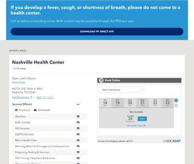 STD Testing at Planned Parenthood Nashville Health Center