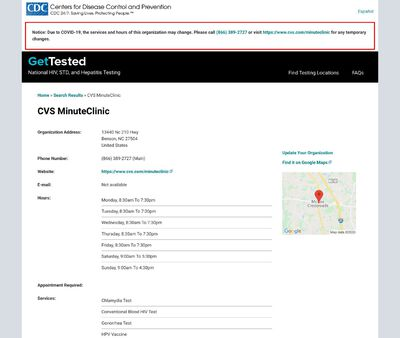 STD Testing at Williamson Department of Health- CVS Minute Clinic