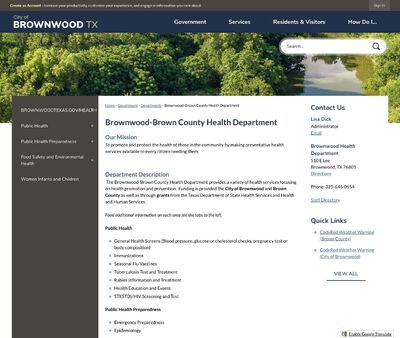 STD Testing at Brownwood-Brown County Health Department