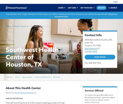 STD Testing at Planned Parenthood – Southwest Health Center of Houston, TX