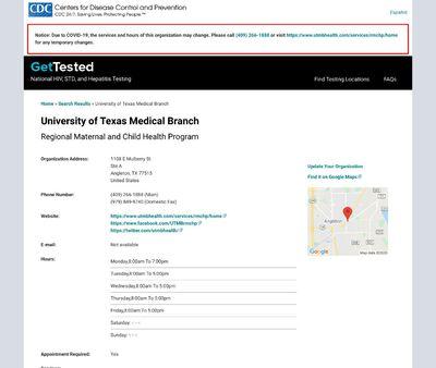 STD Testing at University of Texas Medical Branch Regional Maternal and Child Health Program