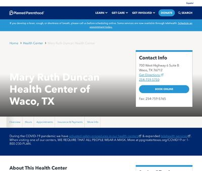 STD Testing at Planned Parenthood-Mary Ruth Duncan Health Center of Waco, TX