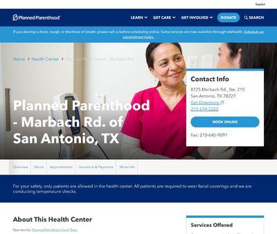 STD Testing at Planned Parenthood - Marbach Rd. of San Antonio, TX