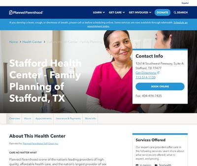 STD Testing at Planned Parenthood Gulf Coast Incorporated (Stafford Health Center)