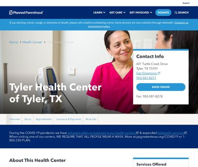 STD Testing at Planned Parenthood - Tyler Health Center of Tyler, TX