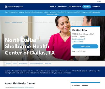 STD Testing at Planned Parenthood of Greater Texas (North Dallas Shelburne Health Center)
