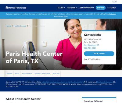 STD Testing at Paris Health Center of Paris, TX