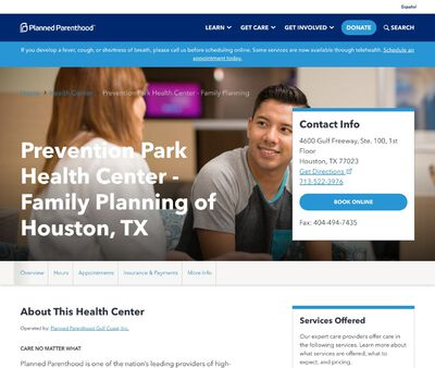 STD Testing at Planned Parenthood Gulf Coast Incorporated (Prevention Park Health Center)