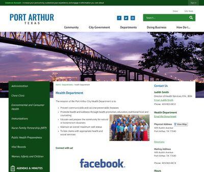 STD Testing at City of Port Arthur Texas - Health Department