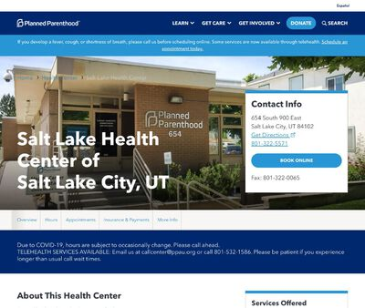 STD Testing at Planned Parenthood - Salt Lake Health Center of Salt Lake City, UT