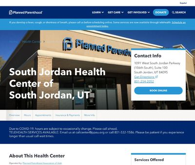 STD Testing at Planned Parenthood Association of Utah (South Jordan Center)