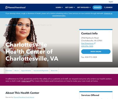 STD Testing at Charlottesville Health Center (Planned Parenthood South Atlantic)