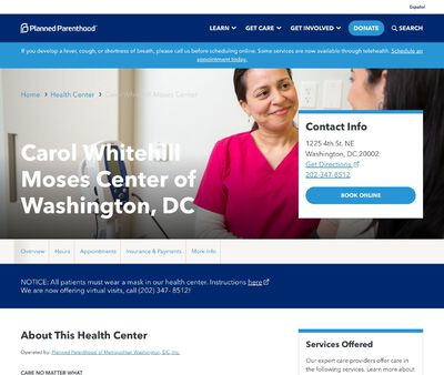 STD Testing at Planned Parenthood – Carol Whitehill Moses Center of Washington, DC