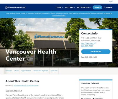 STD Testing at Planned Parenthood - Vancouver Health Center