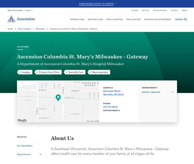 STD Testing at Ascension Columbia St. Mary's Milwaukee at Gateway