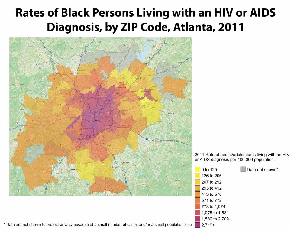 Graph of hiv rates in redan georgia from 2011