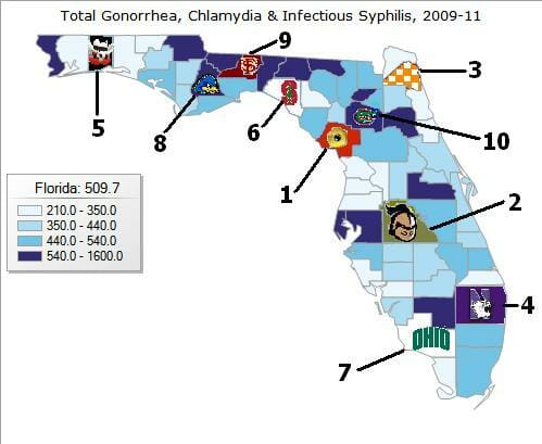 Graph of std rates in cantonment florida from 2011